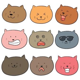 Vector set van kat gezicht