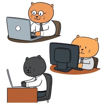 Vector set van kat kantoor werknemer