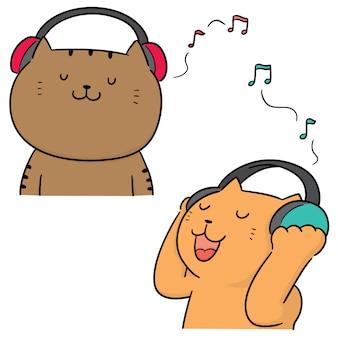 Vector set van kat luisteren muziek