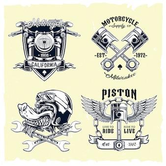 Vector set van klassieke motorfiets emblemen