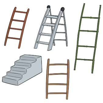 Vector set van ladder
