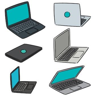 Vector set van laptop
