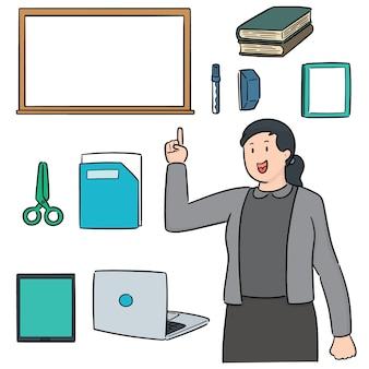 Vector set van leraar en onderwijstoestellen