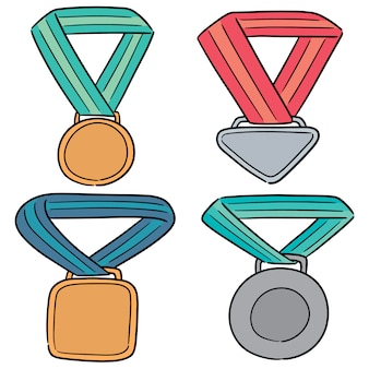Vector set van medaille