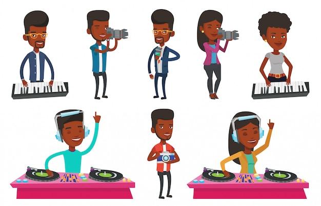 Vector set van media mensen personages.