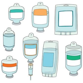 Vector set van medische zoutoplossing