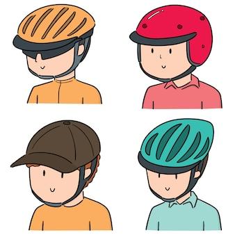 Vector set van mensen die een helm dragen