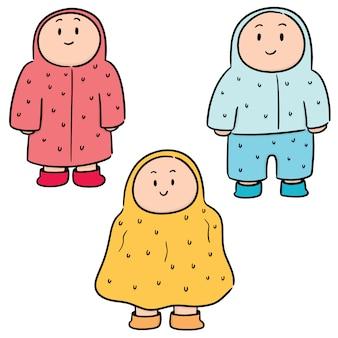 Vector set van mensen in regenjas