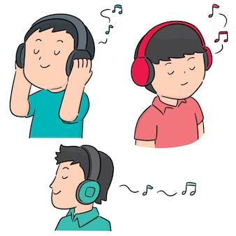 Vector set van mensen luisteren muziek