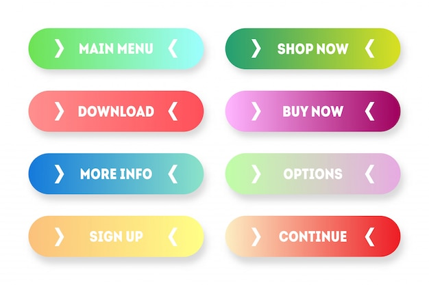 Vector set van moderne kleurverloop app of game knoppen. gebruikersinterface webknop met pijlen: menu, nu winkelen, kopen, downloaden enz.