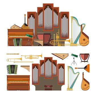 Vector set van muziekinstrumenten in vlakke stijl. ontwerpelementen en muziek geïsoleerde elementen