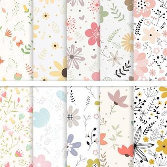 Vector set van naadloze patronen bloem.