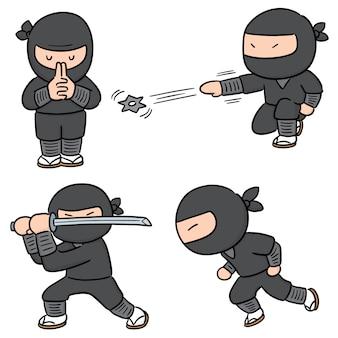 Vector set van ninja