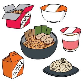 Vector set van noodle