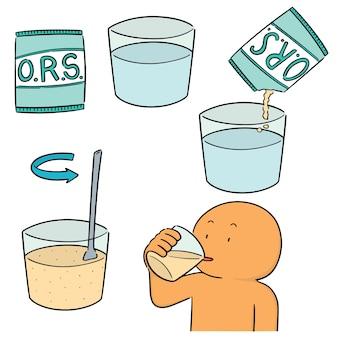 Vector set van orale rehydratie zout
