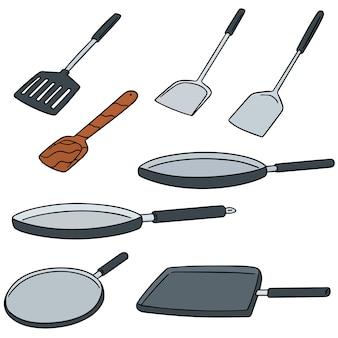 Vector set van pan en flipper