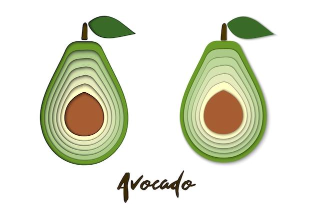 Vector set van papier gesneden groene avocado, gesneden vormen