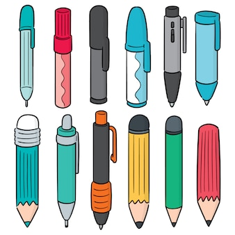 Vector set van pen en potlood