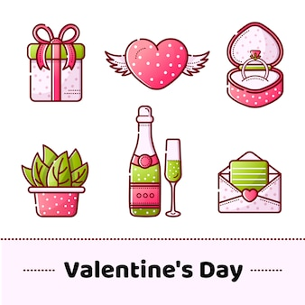 Vector set van pictogrammen voor valentijnsdag
