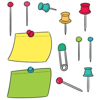 Vector set van pin en memonote