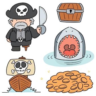 Vector set van piraat