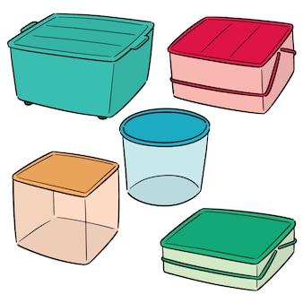 Vector set van plastic container