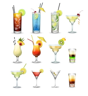 Vector set van populaire cocktails en shots cuba libre, blue lagoon, mojito, margarita, pina colada, tequila sunrise, cosmopolitan, martini geïsoleerd op witte achtergrond