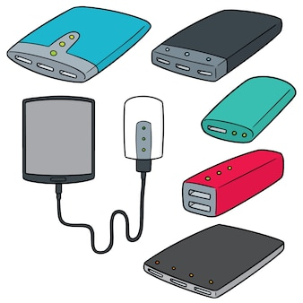 Vector set van power bank