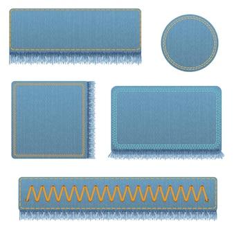 Vector set van realistische banners van jeans. realistische denimbanner met textuur en franje.