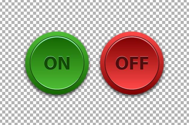 Vector set van realistische geïsoleerde aan en uit drukknoppen voor sjabloondecoratie