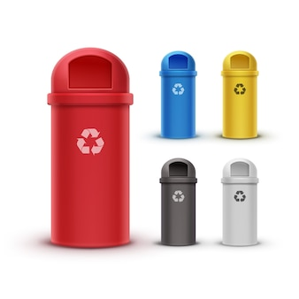 Vector set van rode, gele, blauwe, witte, zwarte prullenbakken voor het sorteren van afval