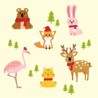 Vector set van schattige kerst dieren