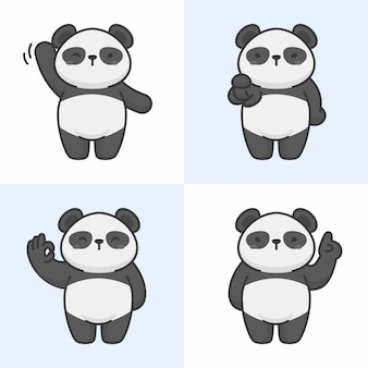 Vector set van schattige panda tekens