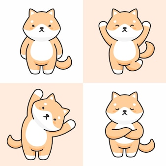 Vector set van schattige shiba inu hond tekens