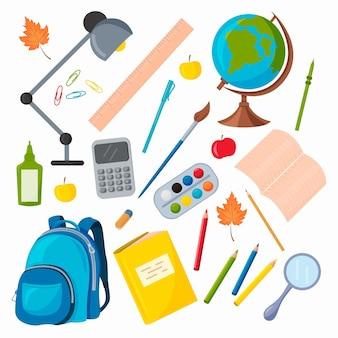 Vector set van schoolbenodigdheden. wereldbol, rugzak, potloden, pennen, paperclips, rekenmachine