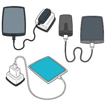Vector set van smartphone opladen