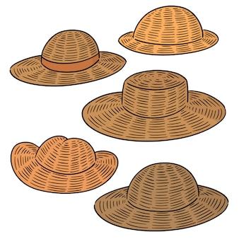 Vector set van strooien hoed