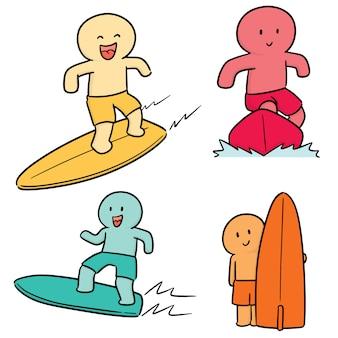 Vector set van surfer