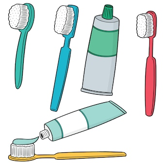 Vector set van tandenborstel en tandpasta