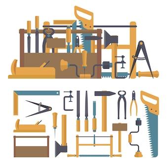 Vector set van timmerman tools en instrumenten in vlakke stijl. reparatiehulpmiddelen voor woningbouw.