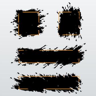 Vector set van trendy banners, headers van inkt penseelstreken