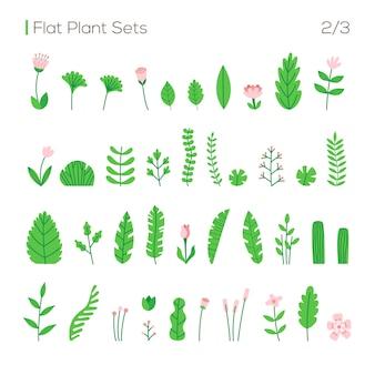 Vector set van verschillende bladeren en planten in een vlakke stijl