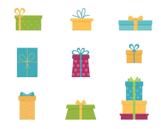 Vector set van verschillende geschenkdozen. plat ontwerp.