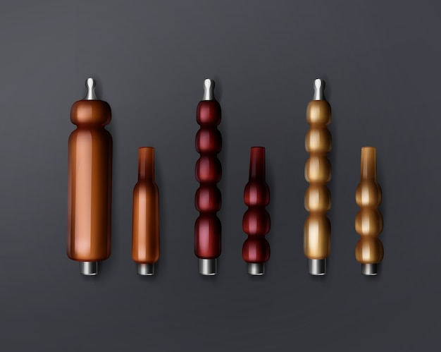 Vector set van verschillende klassieke shisha waterpijp mondstukken of mondtips voor pijpen bovenaanzicht geïsoleerd op donkere achtergrond
