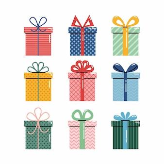 Vector set van verschillende kleurrijke verpakte geschenkdozen. kerst geschenkdoos. feest geschenken.