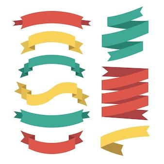Vector set van verschillende linten in vlakke stijl.