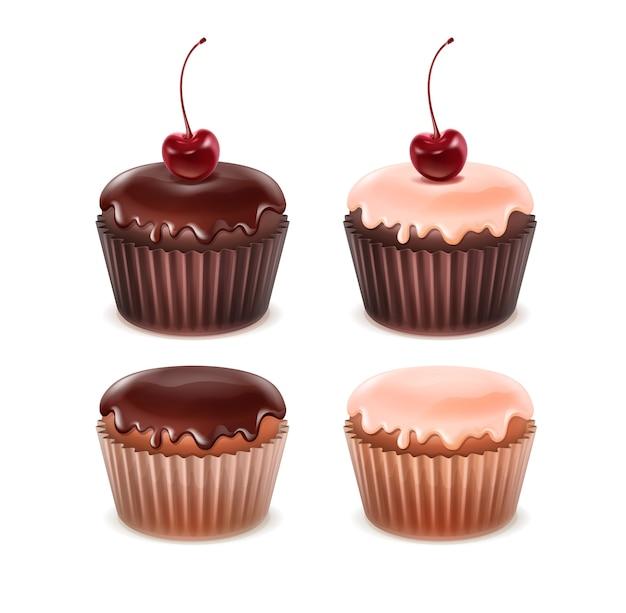 Vector set van verschillende muffins met roze, bruin suikerglazuur en kersen close-up geïsoleerd op een witte achtergrond