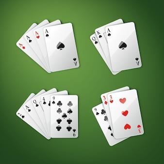 Vector set van verschillende speelkaarten combinatie vier azen, royal straight flush en anderen bovenaanzicht geïsoleerd op groene pokertafel