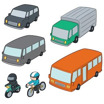 Vector set van vervoer