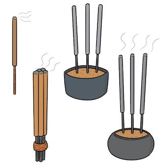 Vector set van wierook stok